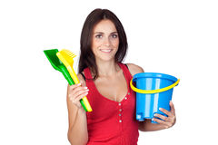 Beautiful brunette girl with beach toys Stock Photography
