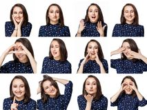 Beautiful brunette girl in blue blouse shows a sea of positive emotions in the collage. White isolate stock images