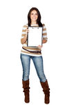 Beautiful brunette girl with clipboard Stock Photography