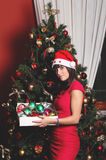 Beautiful brunette girl dressed for Christmas Stock Image