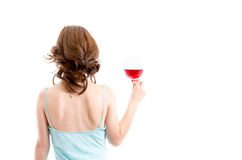 Beautiful brunette girl drinking red wine isolated Stock Images