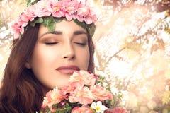 Beautiful Brunette Girl Enjoying Nature. Beauty Portrait Royalty Free Stock Image