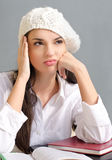 Bored student girl. Royalty Free Stock Photos