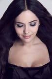 Beautiful Brunette Girl, eyeshadow make up Stock Photography