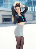 Beautiful brunette girl in fashion style Royalty Free Stock Images