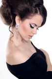 Beautiful Brunette Girl with hairstyle and make up isolated on w Royalty Free Stock Images