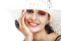 Beautiful Brunette Girl with Hat. Fashion Model Girl Portrait. B Stock Photography