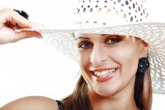 Beautiful Brunette Girl with Hat. Fashion Model Girl Portrait. B Stock Photos