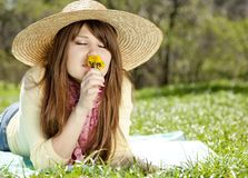 Beautiful brunette girl in hat at the park Royalty Free Stock Photos