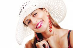 Beautiful Brunette Girl With Hat and Red Dress. Fashion Model Gi Royalty Free Stock Photo