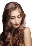 Beautiful Brunette Girl. Healthy Long Hair. Isolated Royalty Free Stock Photo