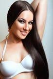 Beautiful Brunette Girl. Healthy Long Hair. Beautiful fashion hairstyle Stock Photos