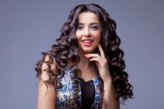 Beautiful Brunette Girl with Healthy Long Hair Royalty Free Stock Images