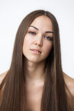 Beautiful Brunette Girl. Healthy Long Hair. Royalty Free Stock Images