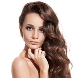 Beautiful Brunette Girl. Healthy Long Hair. Isolated Stock Images