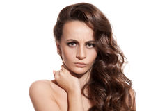 Beautiful Brunette Girl. Healthy Long Hair. Isolated. Beautiful Brunette Girl. Healthy Long Hair. White Background Royalty Free Stock Images