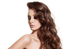Beautiful Brunette Girl. Healthy Long Hair. Isolated Stock Photography