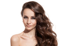 Beautiful Brunette Girl. Healthy Long Hair. Isolated Royalty Free Stock Images