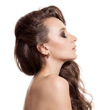 Beautiful Brunette Girl. Healthy Long Hair. Isolated Stock Image
