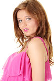 Beautiful brunette girl in hot pink. Stock Photo