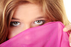 Beautiful brunette girl in hot pink. Stock Photography