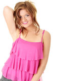 Beautiful brunette girl in hot pink. Royalty Free Stock Image
