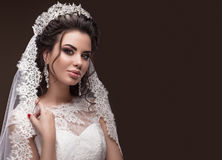 Beautiful brunette girl in image of Arab bride Stock Photography