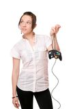 Beautiful brunette girl with a joystick Stock Photos