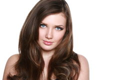 Beautiful brunette girl with long hair Royalty Free Stock Photo