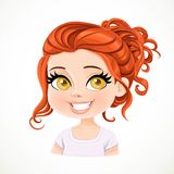 Beautiful brunette girl with long red wavy hair bunched Royalty Free Stock Image