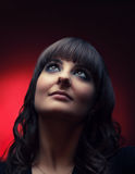 Beautiful brunette girl looking up Stock Image