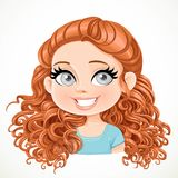 Beautiful brunette girl with magnificent curly brown hair gathered at the nape Royalty Free Stock Images