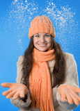 Beautiful brunette girl in the orange cap Stock Image
