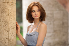 Beautiful brunette girl outdoors Royalty Free Stock Images
