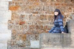 Beautiful brunette girl in Paris Stock Images