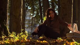 Beautiful brunette girl with picnic basket sitting under the tree in autumn forest. Warm sunny day Royalty Free Stock Images