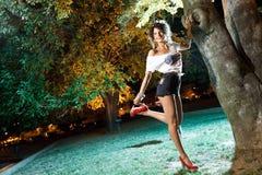 Beautiful brunette girl pin-up shot at night Royalty Free Stock Photo