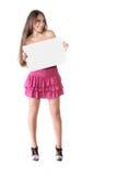 Beautiful brunette girl in pink dress Stock Photo
