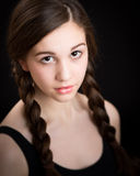Beautiful Brunette Girl With Plaits Royalty Free Stock Photography