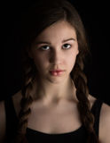 Beautiful Brunette Girl With Plaits Royalty Free Stock Images