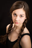 Beautiful Brunette Girl With Plaits Royalty Free Stock Image