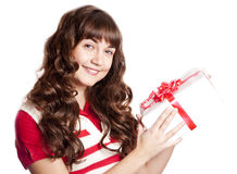 Beautiful brunette girl with present box. Stock Photography