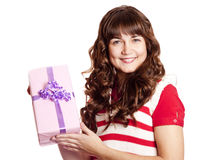 Beautiful brunette girl with present box. Stock Images