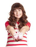 Beautiful brunette girl with present box. Royalty Free Stock Images