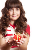 Beautiful brunette girl with present box. Royalty Free Stock Photo