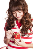 Beautiful brunette girl with present box. Royalty Free Stock Photos
