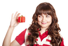 Beautiful brunette girl with present box. Stock Image