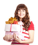 Beautiful brunette girl with present boxes. Stock Photography