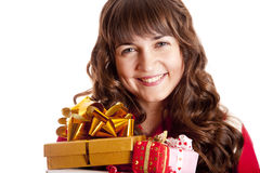 Beautiful brunette girl with present boxes. Royalty Free Stock Photo