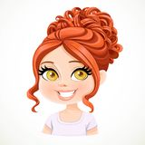 Beautiful brunette girl with red hair arranged in a high evening hairstyle Royalty Free Stock Images